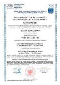 Krajowy Certyfikat Zgodności Zakładowej Kontroli Produkcji
